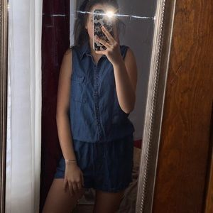 Denim Button Up Romper with Collar